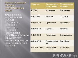 Традиционные названия кислот НСООН (муравьиная), СН3СООН (уксусная), С6Н5СООН (б