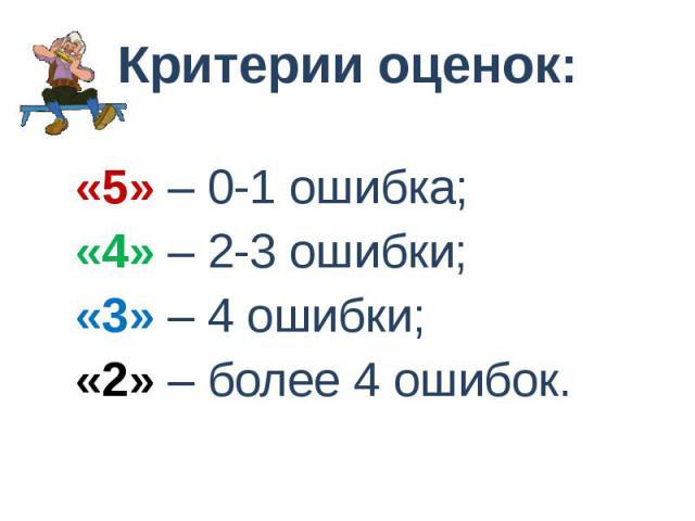 Критерии оценок: «5» – 0-1 ошибка; «4» – 2-3 ошибки; «3» – 4 ошибки; «2» – более 4 ошибок.