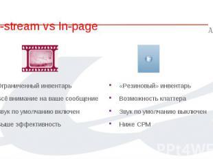 In-stream vs In-page