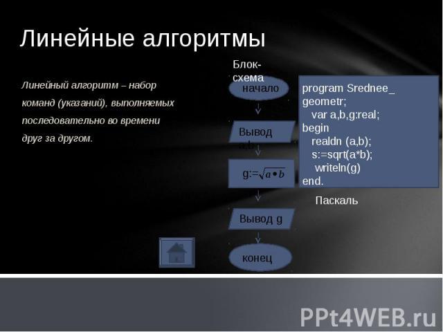Линейный алгоритм – набор команд (указаний), выполняемых последовательно во времени друг за другом.Линейный алгоритм – набор команд (указаний), выполняемых последовательно во времени друг за другом.