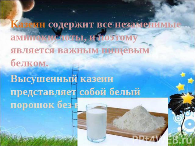 Казеин содержит все незаменимые аминокислоты, и поэтому является важным пищевым белком. Высушенный казеин представляет собой белый порошок без вкуса и запаха.