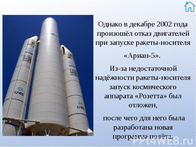 Однако в декабре 2002 года произошёл отказ двигателей при запуске ракеты-носителя Однако в декабре 2002 года произошёл отказ двигателей при запуске ракеты-носителя «Ариан-5». Из-за недостаточной надёжности ракеты-носителя запуск космического аппарат…