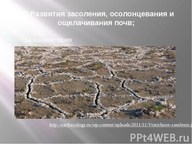 1.2 Развития засоления, осолонцевания и ощелачивания почв; Засоление почв