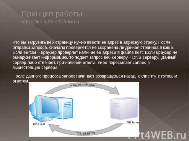 Принцип работыЗагрузка web-страницыЧто бы загрузить веб-страницу нужно ввести ее адрес в адресную строку. После отправки запроса, сначала проверяется не сохранена ли данная страница в кэше. Если ее там – браузер проверяет наличие ее адреса в файле h…