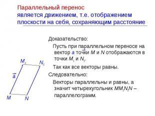 Доказательство: Доказательство: Пусть при параллельном переносе на вектор а точк