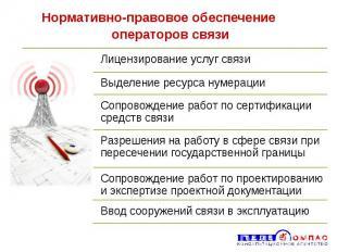 Нормативно-правовое обеспечение операторов связи
