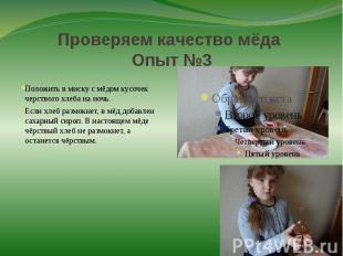 Проверяем качество мёда Опыт №3 Положить в миску с мёдом кусочек черствого хлеба