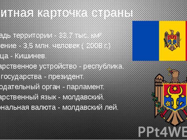 Визитная карточка страны Площадь территории - 33,7 тыс. км² Население - 3,5 млн. человек ( 2008 г.) Столица - Кишинев. Государственное устройство - республика. Глава государства - президент. Законодательный орган - парламент. Государственный язык - …