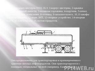 Полуприцеп-цистерна ППЦ-16,3: 1-корпус цистерны, 2-крышка компенсационной емкост