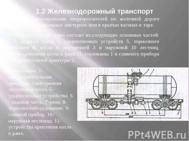 1.2 Железнодорожный транспорт Транспортирование энергоносителей по железной дороге производится в специальных цистернах или в крытых вагонах в таре. Конструктивно цистерна состоит из следующих основных частей: рамы 7, ходовой части 6, ударнотяговых …