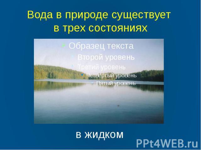 Вода в природе существует в трех состояниях