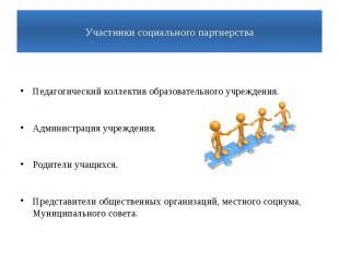 Участники социального партнерстваПедагогический коллектив образовательного