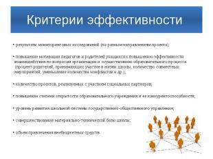 Критерии эффективности результаты мониторинговых исследований (по разным направл