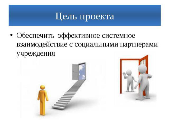 Цель проектаОбеспечить эффективное системное взаимодействие с социальными партнерами учреждения