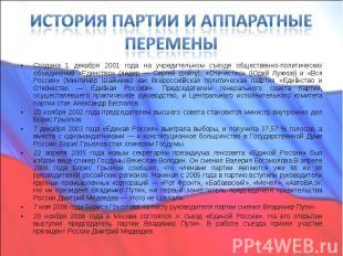 Создана 1 декабря 2001 года на учредительном съезде общественно-политических объ