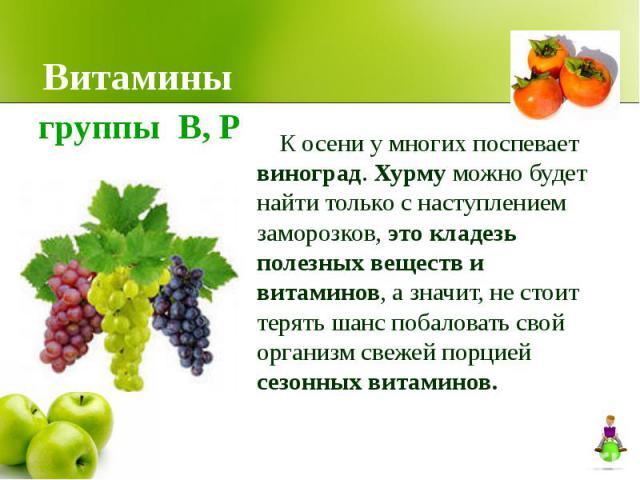 Витамины К осени у многих поспевает виноград. Хурму можно будет найти только с наступлением заморозков, это кладезь полезных веществ и витаминов, а значит, не стоит терять шанс побаловать свой организм свежей порцией сезонных витаминов.