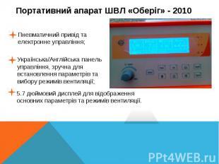 Пневматичний привід та електронне управління;Українська/Англійська панель управл