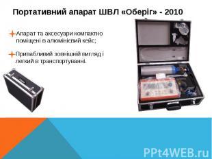 Портативний апарат ШВЛ «Оберіг» - 2010Апарат та аксесуари компактно поміщені в а