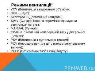 VCV (Вентиляція з керованим об'ємом);SIGH (Вдих);SIPPV(A/C) (Допоміжний контроль
