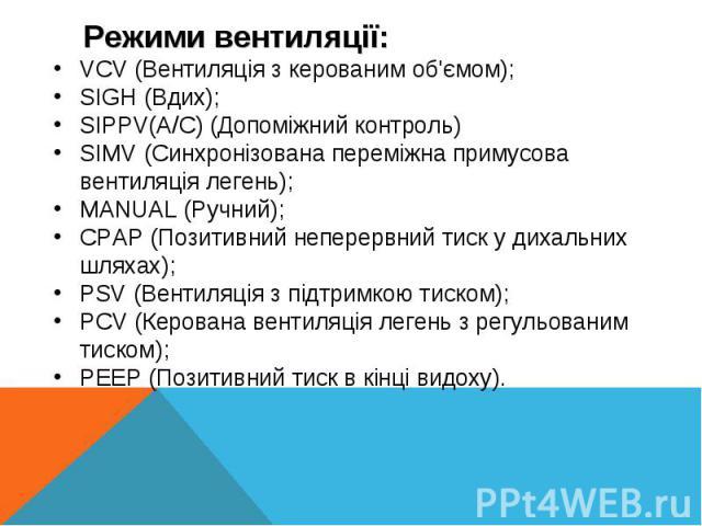 VCV (Вентиляція з керованим об'ємом);SIGH (Вдих);SIPPV(A/C) (Допоміжний контроль)SIMV (Синхронізована переміжна примусова вентиляція легень);MANUAL (Ручний);CPAP (Позитивний неперервний тиск у дихальних шляхах);PSV (Вентиляція з підтримкою тиском);P…