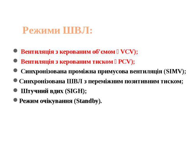 Вентиляція з керованим об'ємом(VCV); Вентиляція з керованим тиском(PCV); Синхронізована проміжна примусова вентиляція (SIMV);Синхронізована ШВЛ з переміжним позитивним тиском; Штучний вдих (SIGH);Режим очікування (Standby).