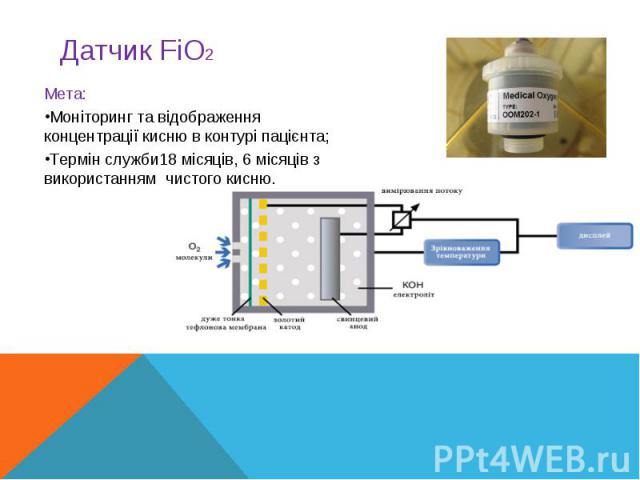 Мета:Моніторинг та відображення концентрації кисню в контурі пацієнта;Термін служби18 місяців, 6 місяців з використанням чистого кисню.