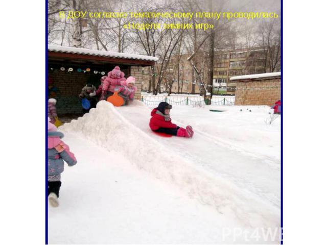 В ДОУ согласно тематическому плану проводилась «Неделя зимних игр»