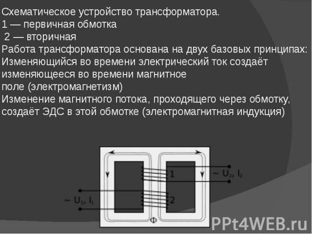Схематическое устройство трансформатора. 1— первичная обмотка 2— вторичная Работа трансформатора основана на двух базовых принципах: Изменяющийся во времениэлектрический токсоздаёт изменяющееся во временимаг…