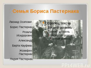 Семья Бориса Пастернака Леонид Осипович, Борис Пастернак, Розалия Исидоровна, Ал