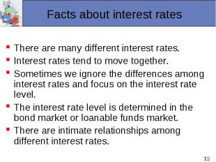 There are many different interest rates. Interest rates tend to move together. S
