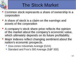 Common stock represents a share of ownership in a corporation Common stock repre