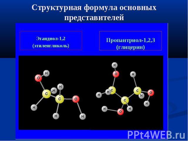 Структурная формула основных представителей