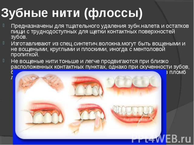 Предназначены для тщательного удаления зубн.налета и остатков пищи с труднодоступных для щетки контактных поверхностей зубов. Предназначены для тщательного удаления зубн.налета и остатков пищи с труднодоступных для щетки контактных поверхностей зубо…