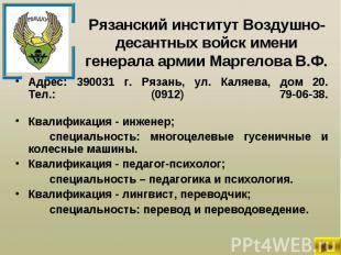 Адрес: 390031 г. Рязань, ул. Каляева, дом 20. Тел.: (0912) 79-06-38. Адрес: 3900