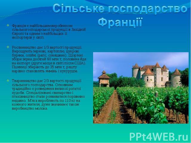 Франція є найбільшим виробником сільськогосподарської продукції в Західній Європі та одним з найбільших її експортерів у світі. Франція є найбільшим виробником сільськогосподарської продукції в Західній Європі та одним з найбільших її експортерів у …