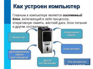 Главным в компьютере является системный блок, включающий в себя процессор, опера
