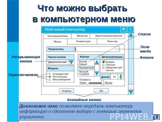 Диалоговое окно позволяет передать компьютеру информацию о сделанном выборе с помощью элементов управления. Диалоговое окно позволяет передать компьютеру информацию о сделанном выборе с помощью элементов управления.