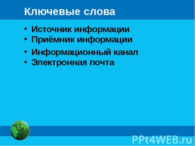 Источник информации Источник информации Приёмник информации Информационный канал Электронная почта