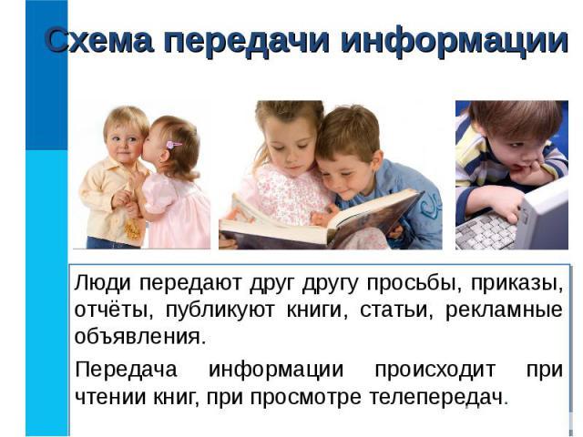 Люди передают друг другу просьбы, приказы, отчёты, публикуют книги, статьи, рекламные объявления. Люди передают друг другу просьбы, приказы, отчёты, публикуют книги, статьи, рекламные объявления. Передача информации происходит при чтении книг, при п…