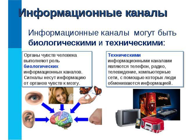 Информационные каналы могут быть биологическими и техническими: Информационные каналы могут быть биологическими и техническими: