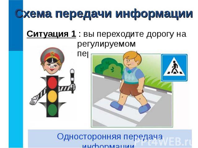 Ситуация 1 : вы переходите дорогу на регулируемом перекрёстке. Ситуация 1 : вы переходите дорогу на регулируемом перекрёстке.