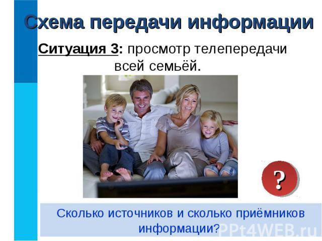 Ситуация 3: просмотр телепередачи всей семьёй. Ситуация 3: просмотр телепередачи всей семьёй.