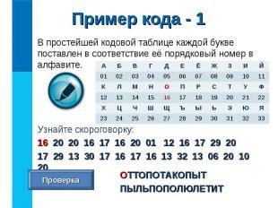 В простейшей кодовой таблице каждой букве поставлен в соответствие её порядковый