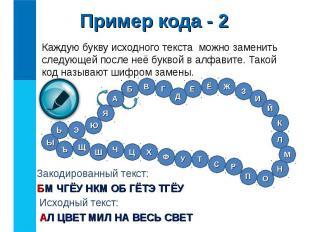Каждую букву исходного текста можно заменить следующей после неё буквой в алфави