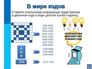 В памяти компьютера информация представлена в двоичном коде в виде цепочек нулей