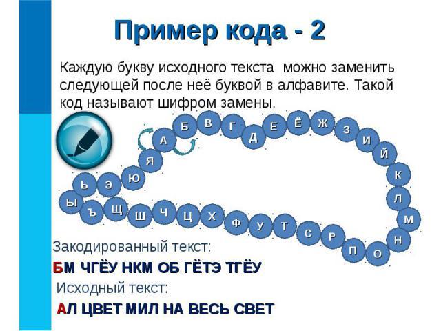 Каждую букву исходного текста можно заменить следующей после неё буквой в алфавите. Такой код называют шифром замены. Каждую букву исходного текста можно заменить следующей после неё буквой в алфавите. Такой код называют шифром замены.
