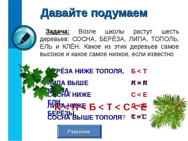 Задача: Возле школы растут шесть деревьев: СОСНА, БЕРЁЗА, ЛИПА, ТОПОЛЬ, ЕЛЬ и КЛЁН. Какое из этих деревьев самое высокое и какое самое низкое, если известно Задача: Возле школы растут шесть деревьев: СОСНА, БЕРЁЗА, ЛИПА, ТОПОЛЬ, ЕЛЬ и КЛЁН. Какое из…