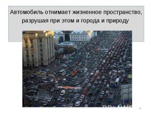 Автомобиль отнимает жизненное пространство, разрушая при этом и города и природу