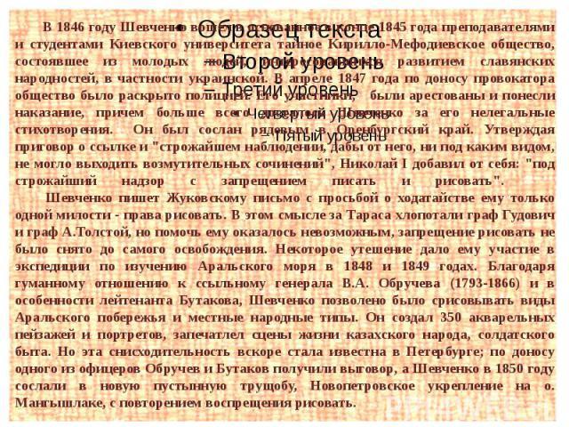 В 1846 году Шевченко вошел в основанное в конце 1845 года преподавателями и студентами Киевского университета тайное Кирилло-Мефодиевское общество, состоявшее из молодых людей, интересовавшихся развитием славянских народностей, в частности украинско…