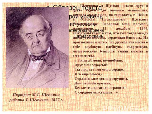 Портрет М.С. Щепкина работы Т. Шевченко, 1857 г.